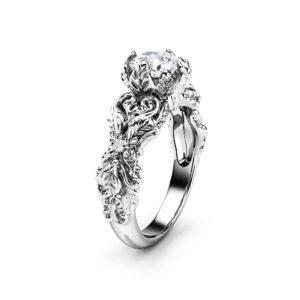 Leaves Moissanite Engagement Ring 14K White Gold Wedding Ring Nature Inspired Engagement Ring