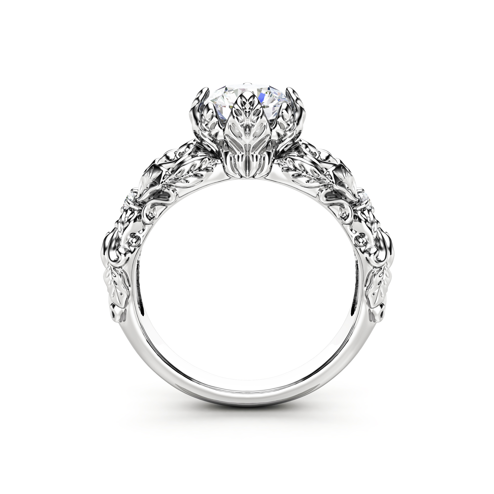 Leaves Moissanite Engagement Ring 14K White Gold Wedding Ring Nature Inspired Engagement Ring