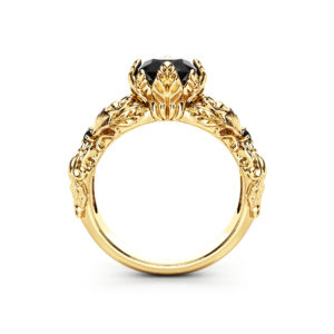 Nature Inspired Black Diamond Engagement Ring Unique 14K Yellow Gold Leaves Engagement Ring
