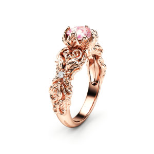 Peach Pink Moissanite Engagement Ring 14K Rose Gold Leaves Ring Moissanite Engagement Ring