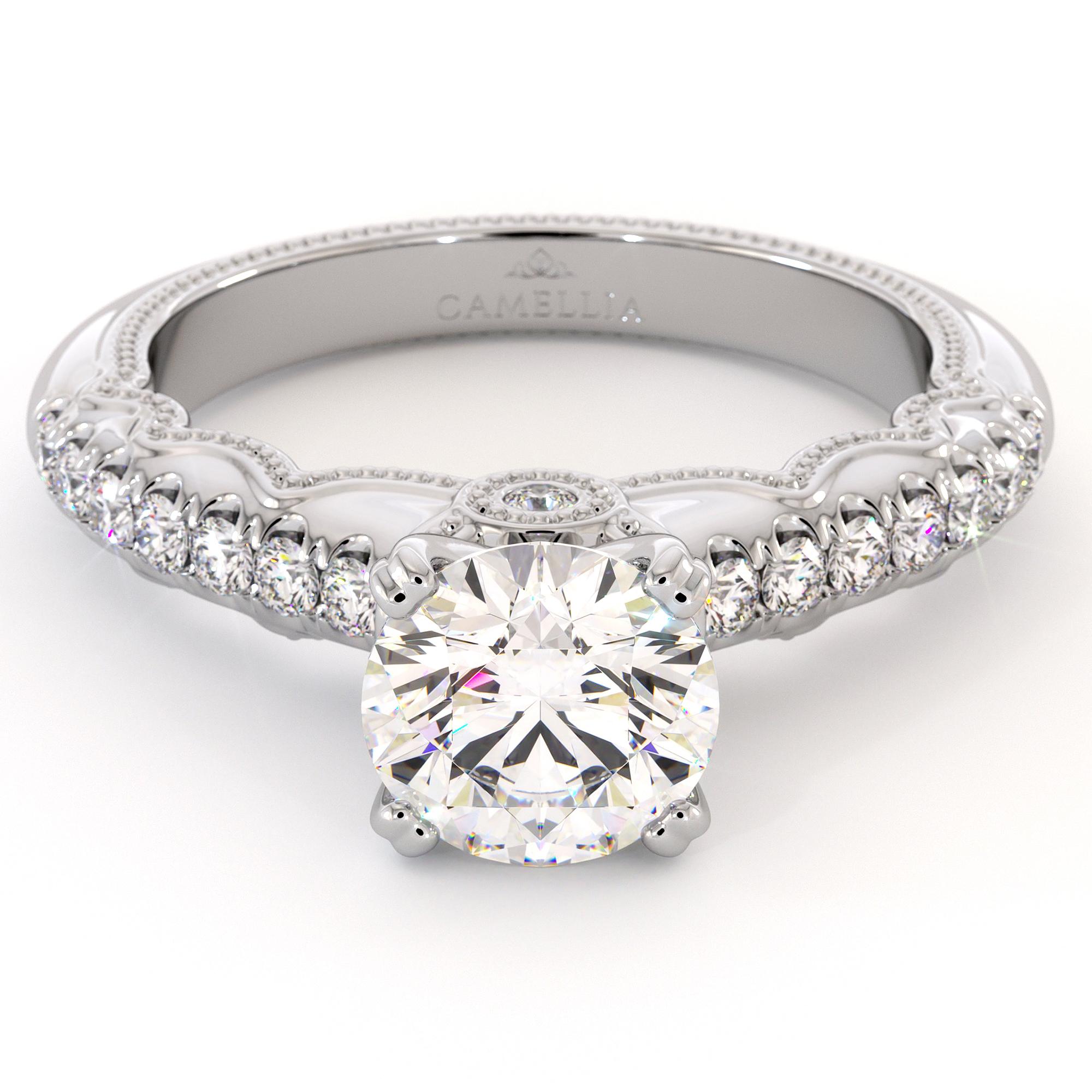 Diamond Pave Engagement Ring 14K White Gold Ring Victorian Bridal Ring Moissanite Engagement Ring