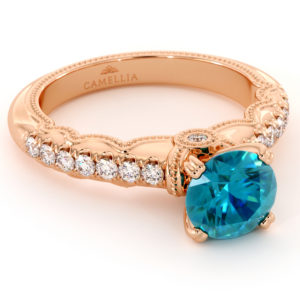 Blue Diamond Estate Engagement Ring 14K Rose Gold Estate Ring Unique Blue Diamond Band Anniversary Gift