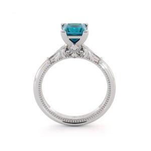 Blue Diamond Princess Cut Engagement Ring Unique Victorian Diamond Engagement Ring 14K White Gold Ring