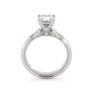 Princess Cut Moissanite Engagement Ring White Gold Victorian Ring Unique Square Cut Engagement Ring