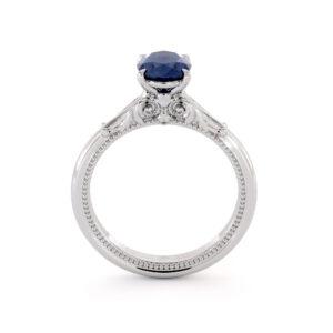 Sapphire Ring Oval Blue Sapphire Engagement Ring September Birthstone Classic Milgrain Ring