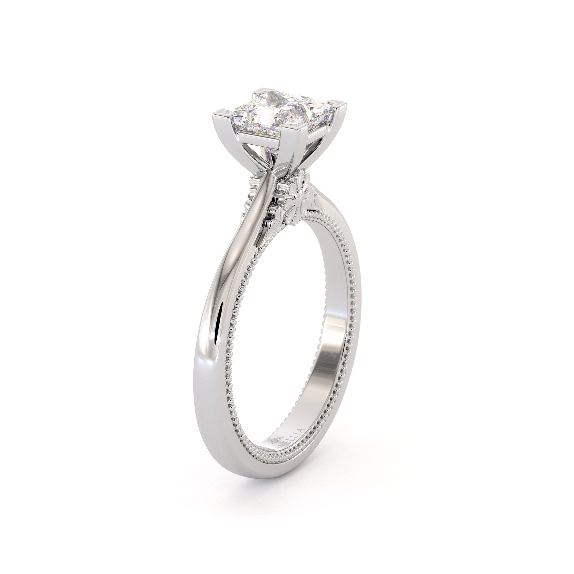 Forever One Moissanite Ring, Square & Princess Moissanite Engagement Ring, White Gold Promise Ring