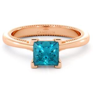 Princess Blue Diamond Engagement Ring 1.00 Carat Classic Diamond Engagement Ring Solitaire Gold RIng