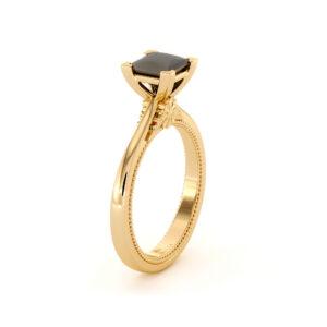 Womens Diamond Engagement Ring Princess Cut Black Diamond 10th Anniversary Gift For Her