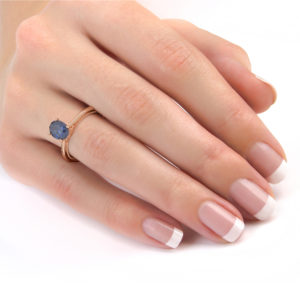 Oval Engagement Ring Sapphire Oval Ring Rose Gold Solitaire 1.5 Ct Blue Sapphire