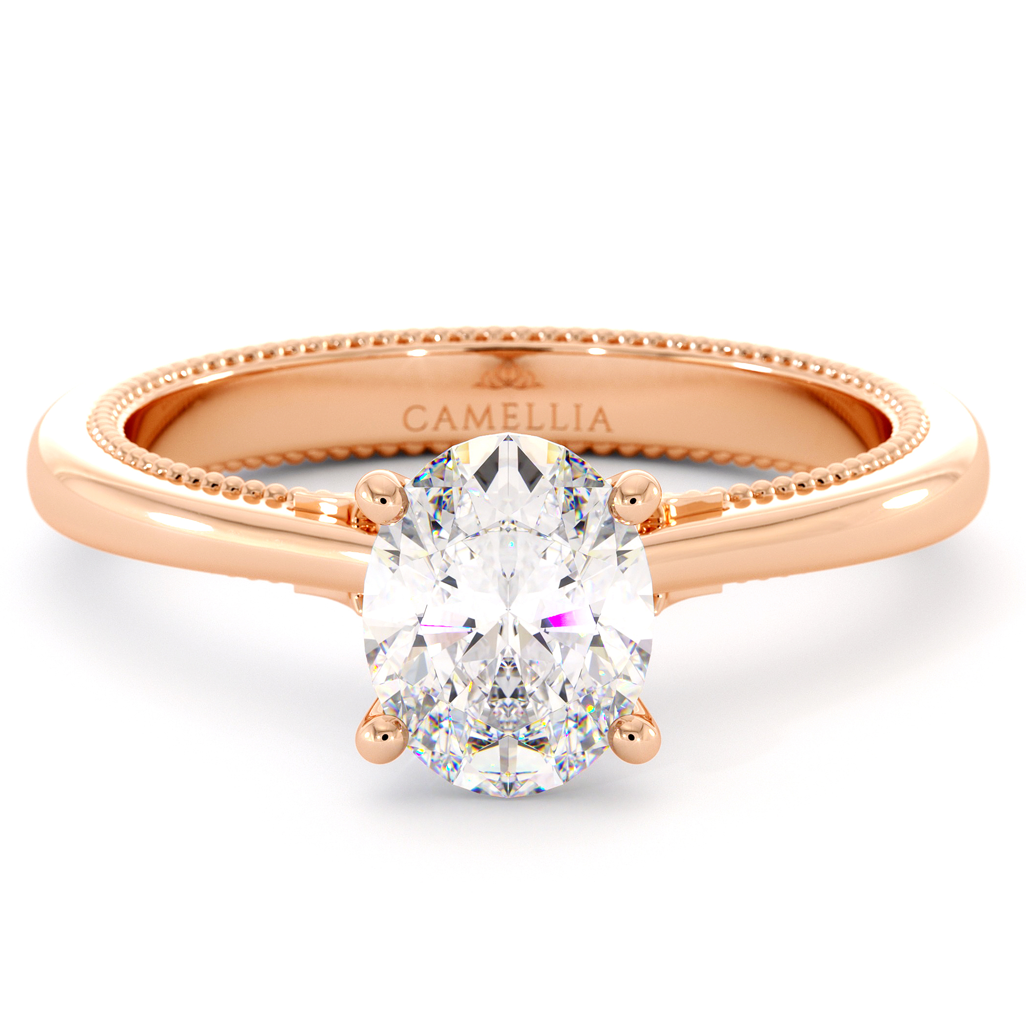 Moissanite Engagement Ring Oval Cut Gemstone 14K Rose Gold Solitaire Classic Ring