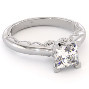 Princess 6mm Moissanite Ring Vintage Inspired Solitaire Ring