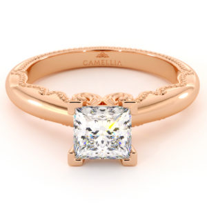 Vintage Inspired Solitaire Engagement Ring Moissanite Forever One Princess Cut 14K Ring
