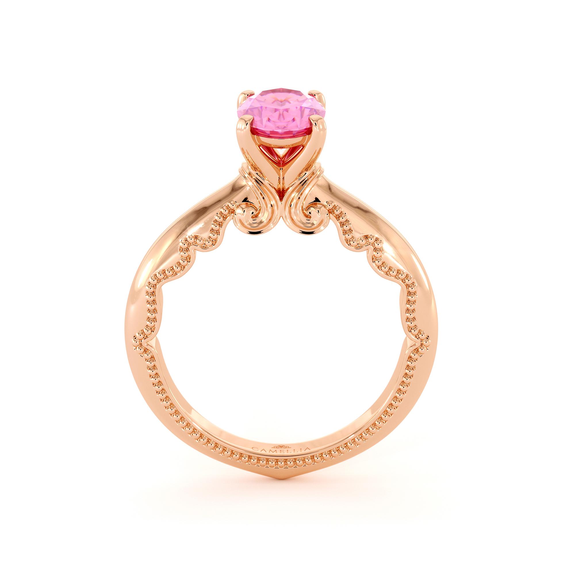 Natural Pink Sapphire Ring Rose Gold Milgrain Ring Oval Pink Sapphire Engagement Ring