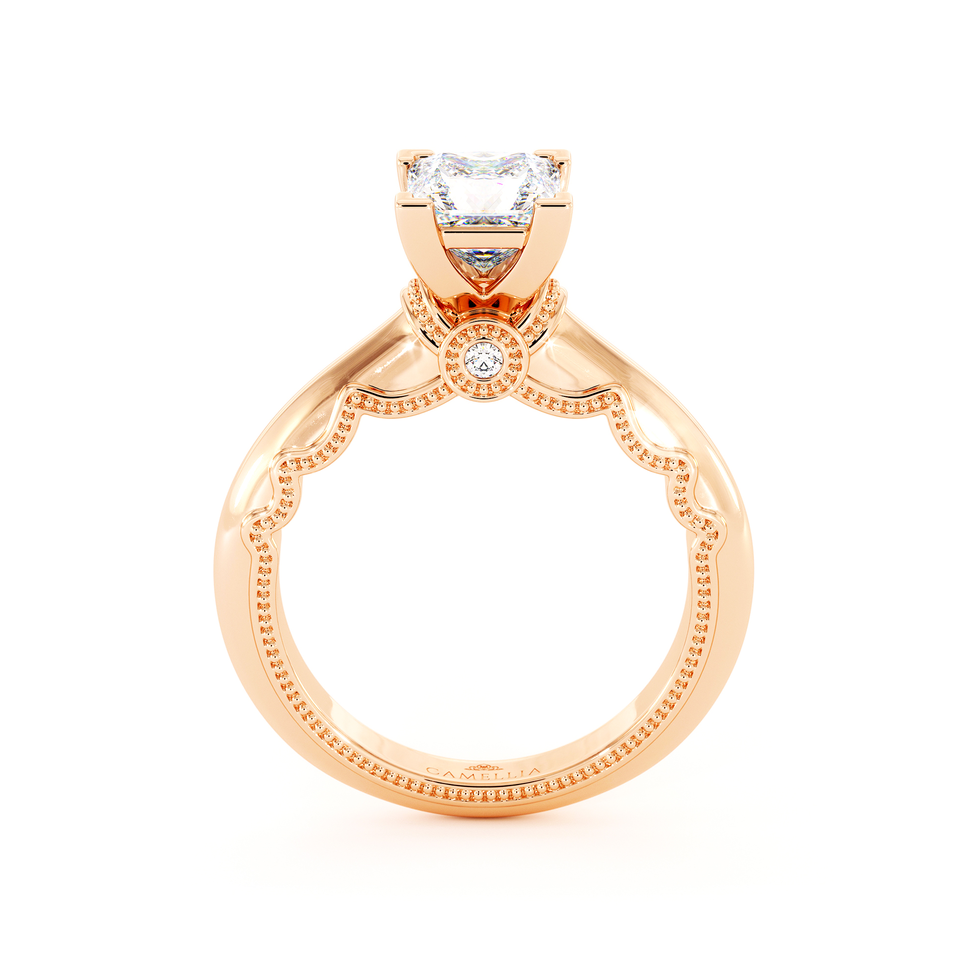 Princess Cut Moissanite Engagement Ring Victorian Rose Gold Ring Unique Square Cut Engagement Ring
