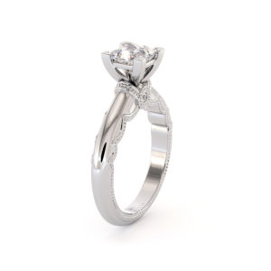 Princess Cut Moissanite Engagement Ring Victorian White Gold Ring Unique Square Cut Engagement Ring