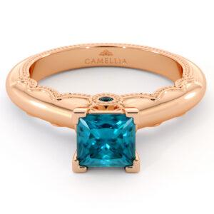 Blue Diamond Engagement Ring Unique Victorian Princess Cut Diamond Engagement Ring 14K Rose Gold Ring