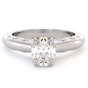 Oval Cut Moissanite Engagement Ring Victorian Estate Gold Ring Proposal Diamond Altentative Ring