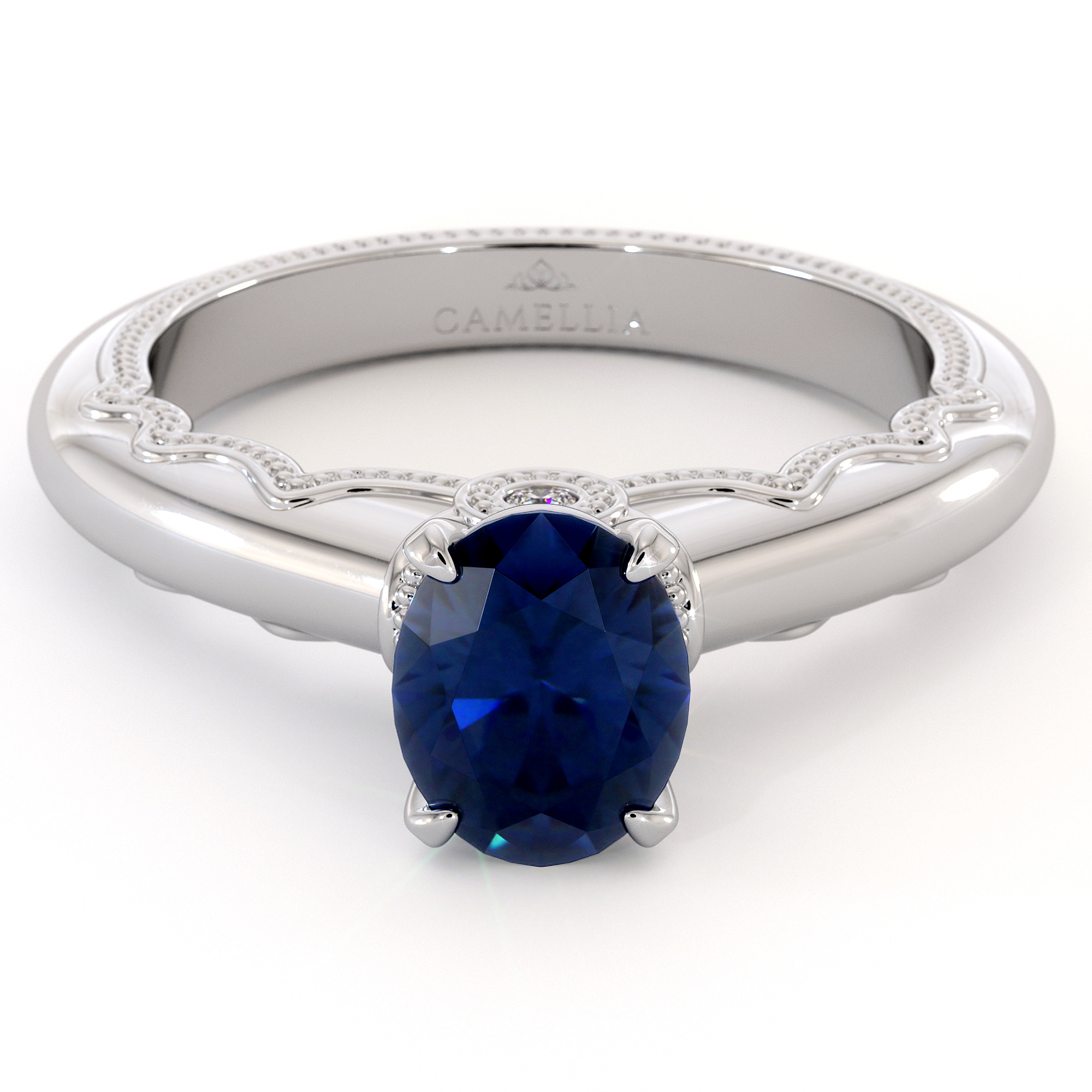 Oval Cut Blue Sapphire Engagement Ring September Birthstone Unique Victorian Milgrain Ring