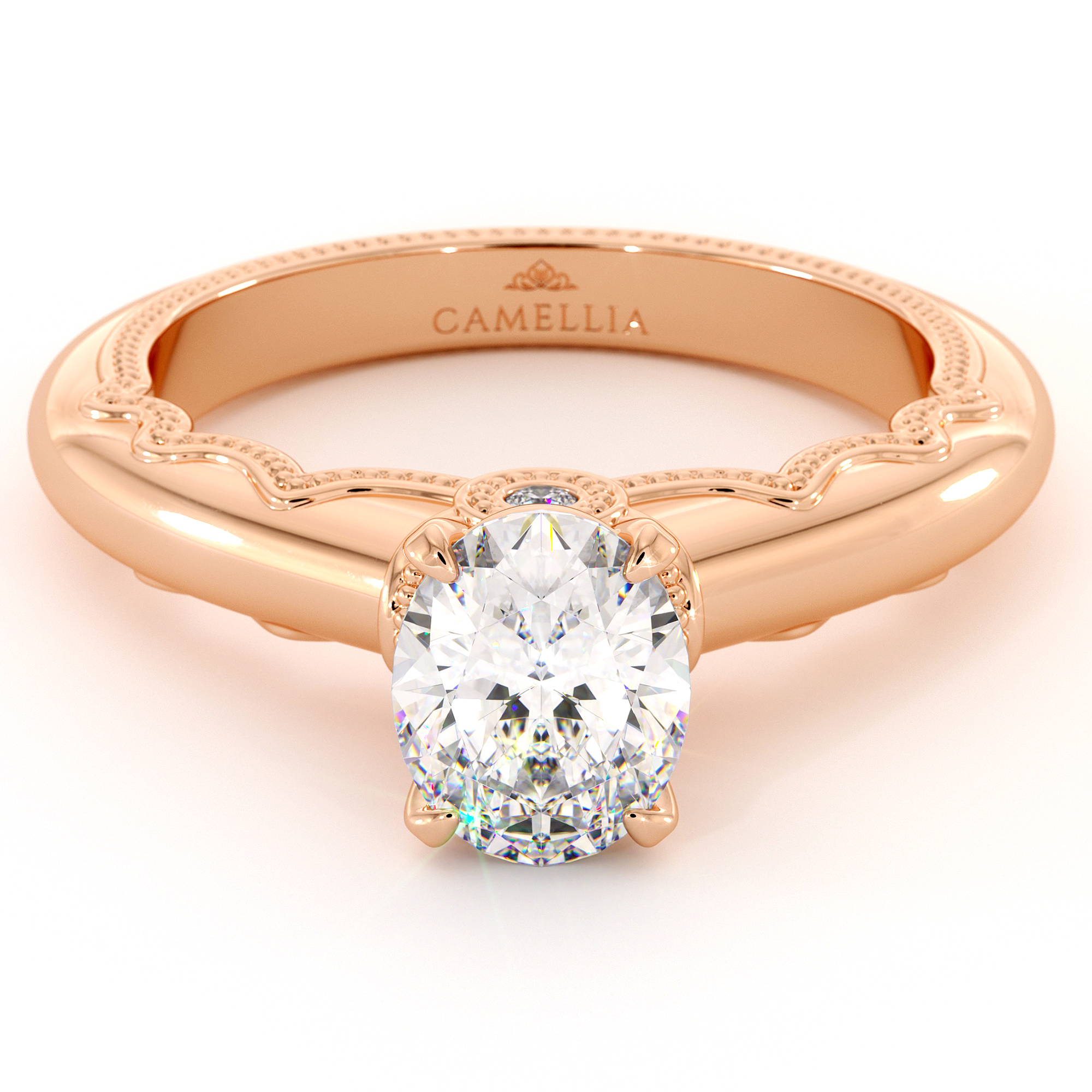 Oval Cut Moissanite Engagement Ring Victorian Estate Rose Gold Ring Proposal Diamond Altentative Ring