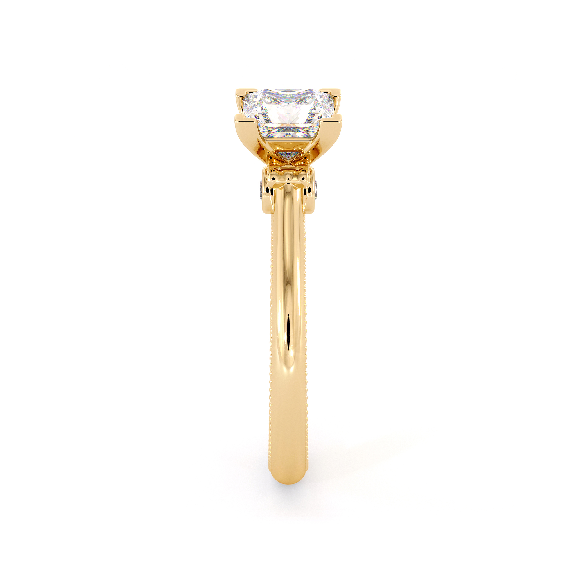 Yellow Gold Princess Cut Proposal Engagement Ring with Moissanite Forever One 6mm and Natural Side Diamonds