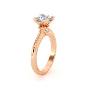 Rose Gold Classic Ring Moissanite Princess Engagement Ring Milgrain Band Moissanite Wedding Ring