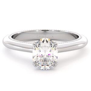 Oval moissanite Classic Ring Oval Cut Moissanite Anniversary Ring 14K White Gold Promise Ring