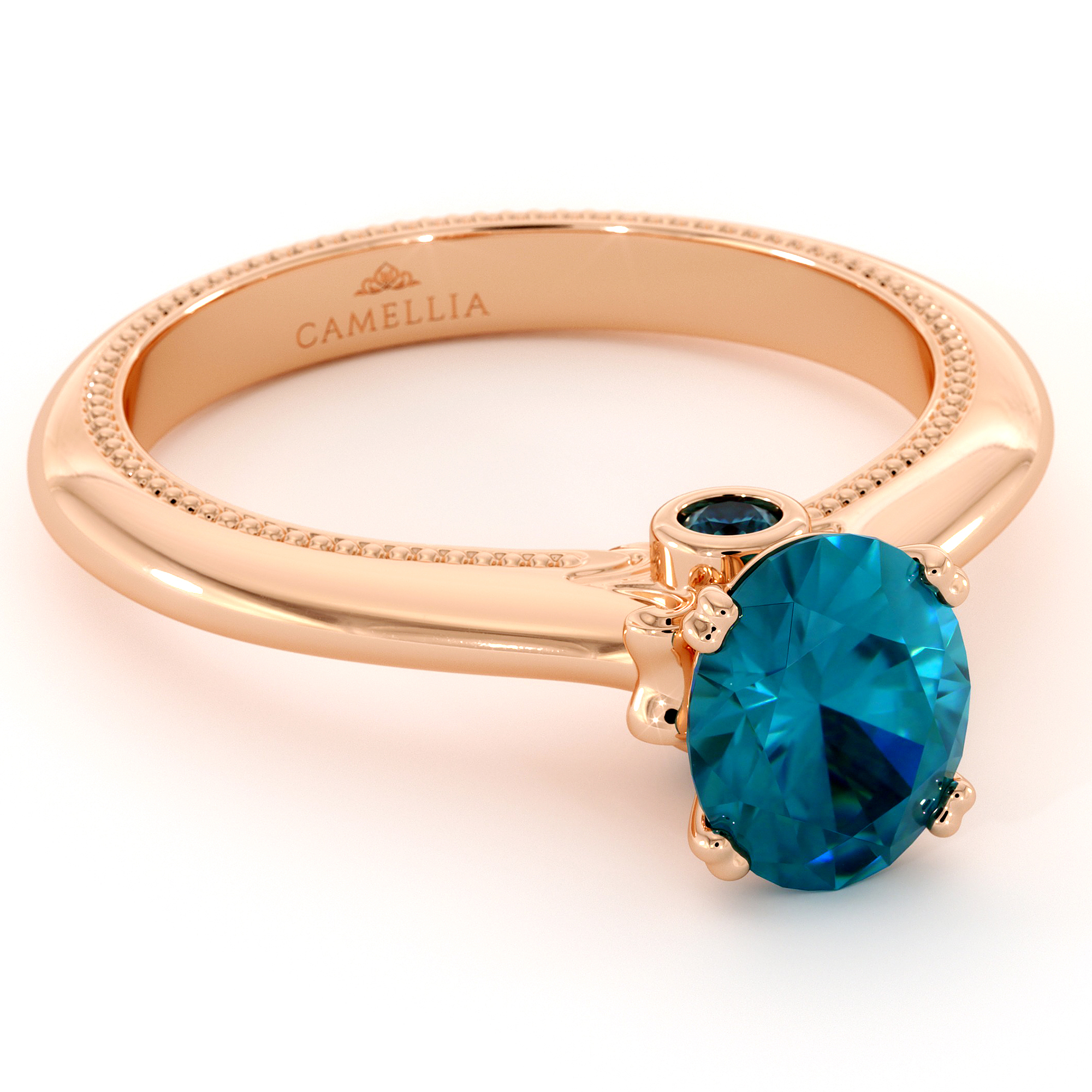 Certified Blue Diamond Engagement Ring 1.00 Cartat Oval Cut Blue Diamond 10th Anniversary Ring
