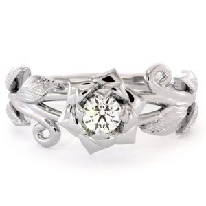 Diamond Engagement Ring Flower Ring Camellia Ring White Gold Ring Solitaire Diamond Ring Leaf Engagement Ring