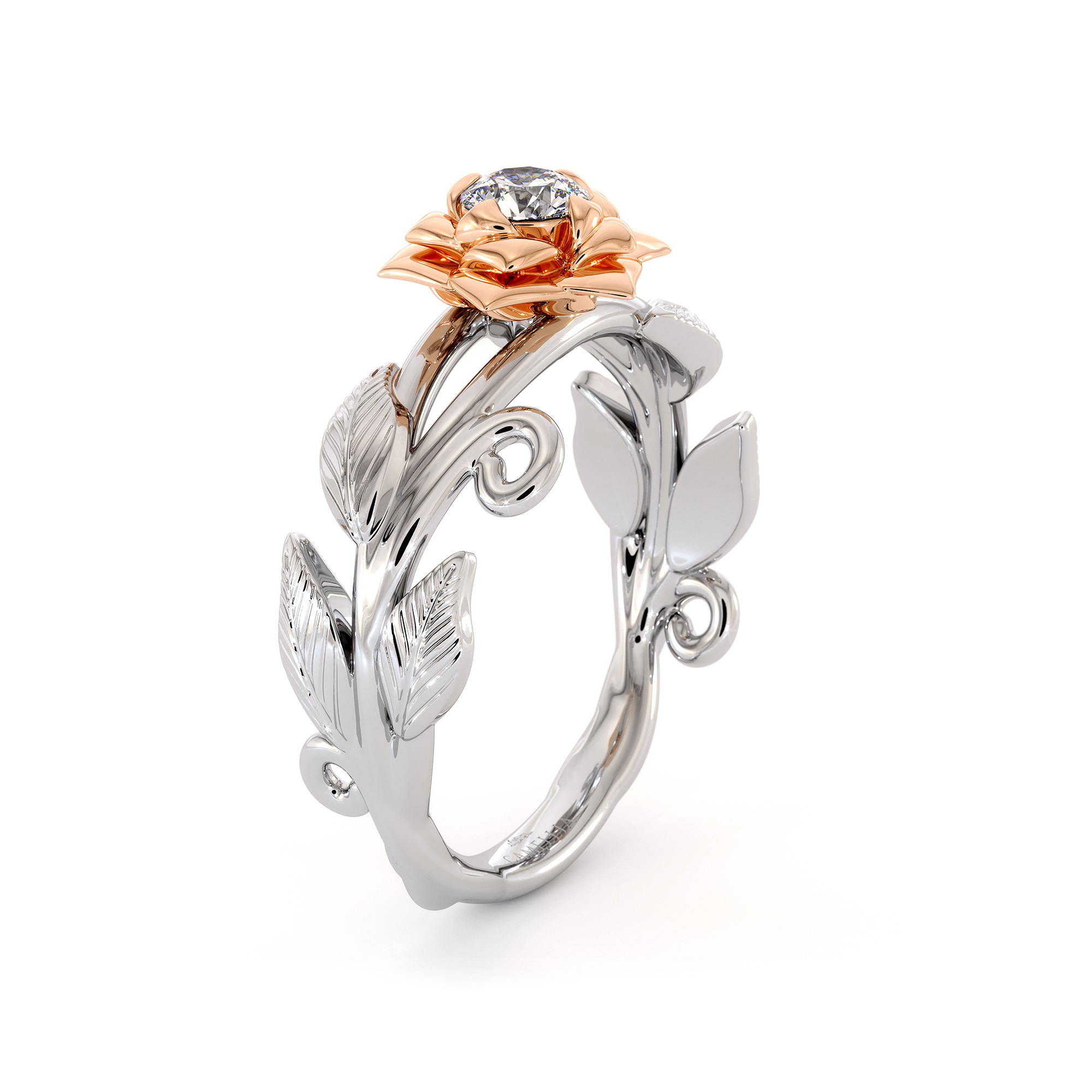 Diamond Engagement Ring Flower Ring Camellia Ring 2 Tone Gold Ring Solitaire Diamond Ring Leaf Engagement Ring