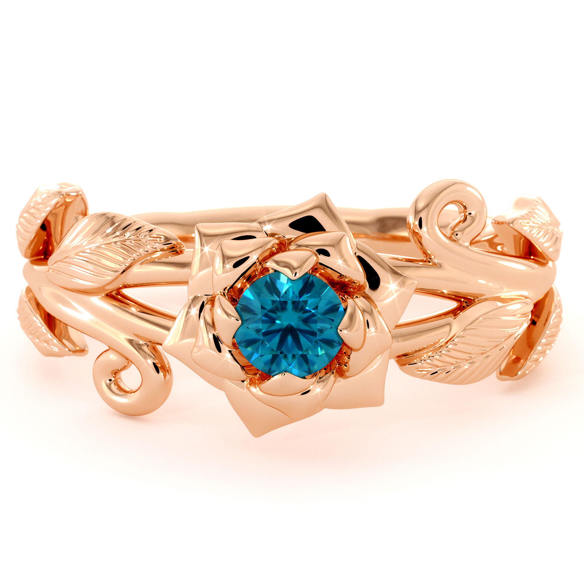 Camellia Flower Engagement Ring Blue Diamond Ring 14K Rose Gold Ring Flower Leaves Engagement Ring