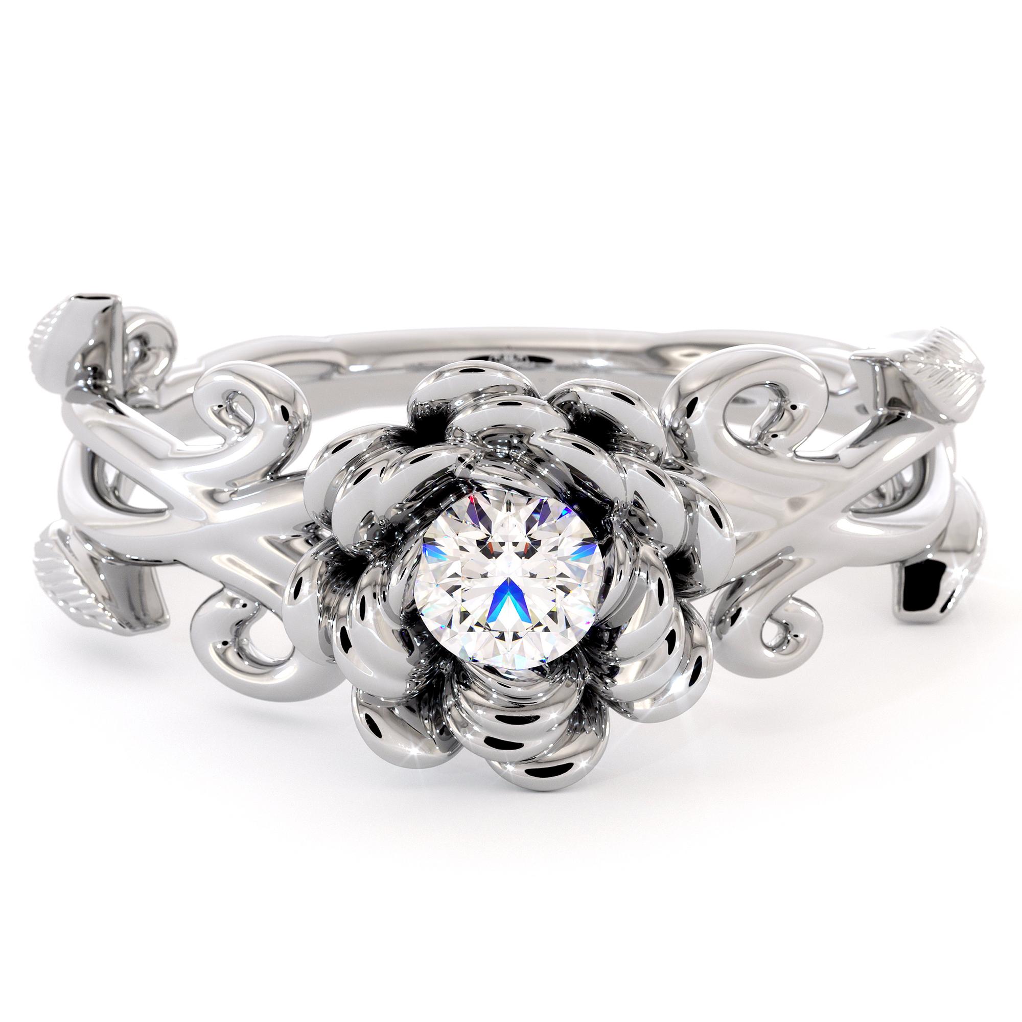 Diamond Engagement Ring Flower Ring White Gold Ring Solitaire Ring Flower Leaves Engagement Ring