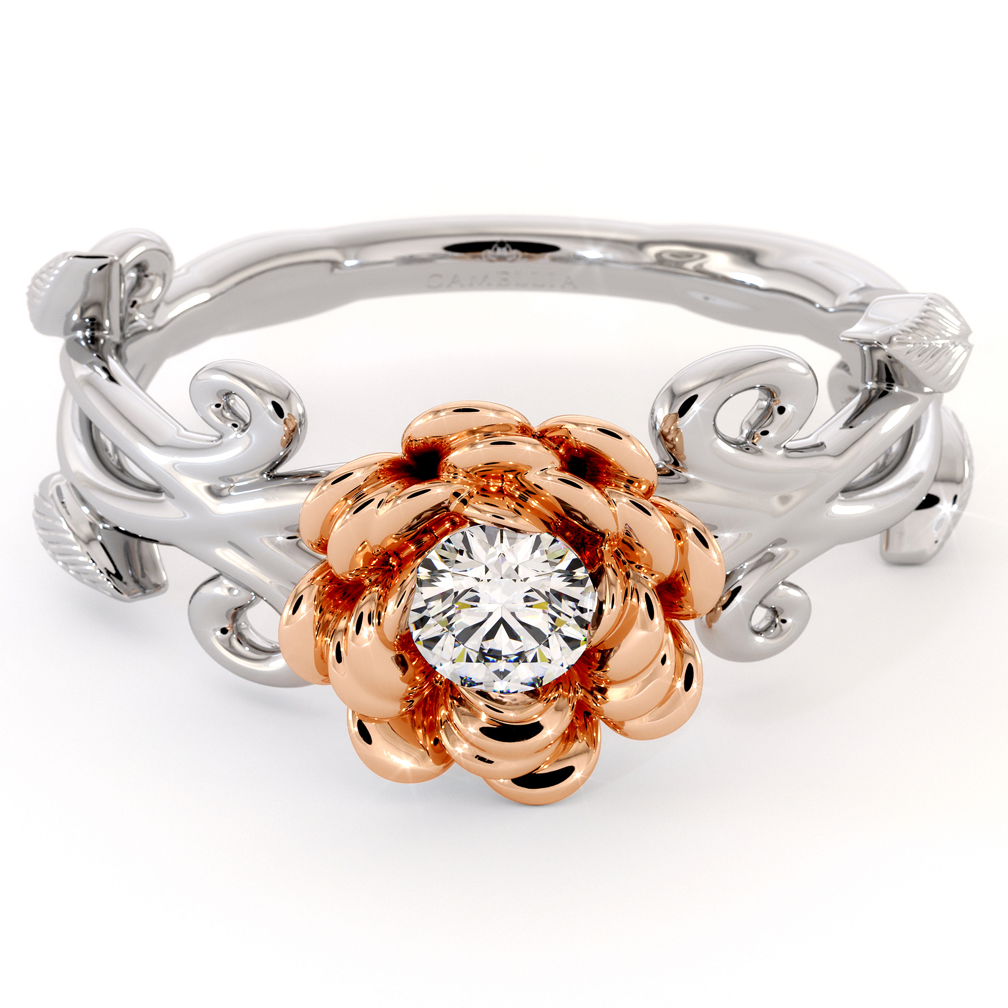 Diamond Engagement Ring Flower Ring 2 Tone Gold Ring Solitaire Ring Flower Leaves Engagement Ring