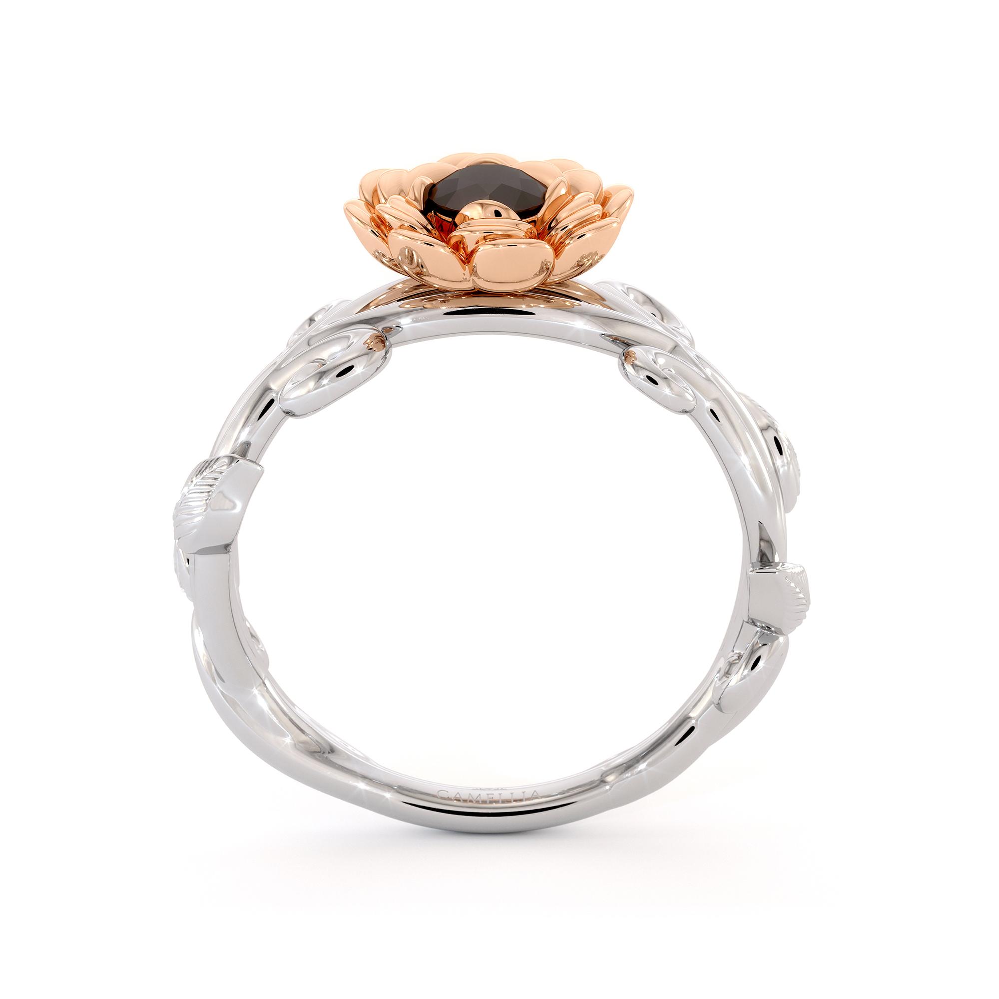 Flower Black Diamond Engagement Ring Leaves Ring Floral Engagement Ring 2 Tone Gold Ring Nature Ring