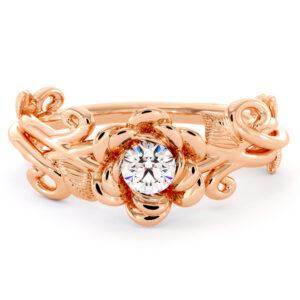 Diamond Floral Engagement Ring Handmade Solitaire Diamond Ring Rose Flower Wedding Ring Rose Gold Engagement Ring