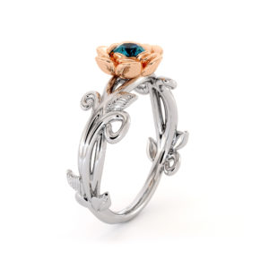 Blue Diamond Floral Engagement Ring 14K Two Tone Gold Ring Handmade Solitaire Diamond Ring Rose Flower Wedding Ring