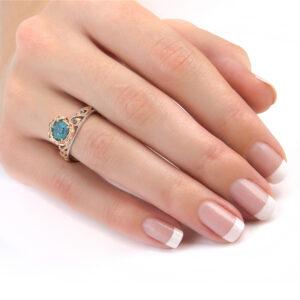 Blue Diamond Floral Engagement Ring Handmade Diamond Ring 14K 2 Tone Gold Ring Flower Wedding Ring