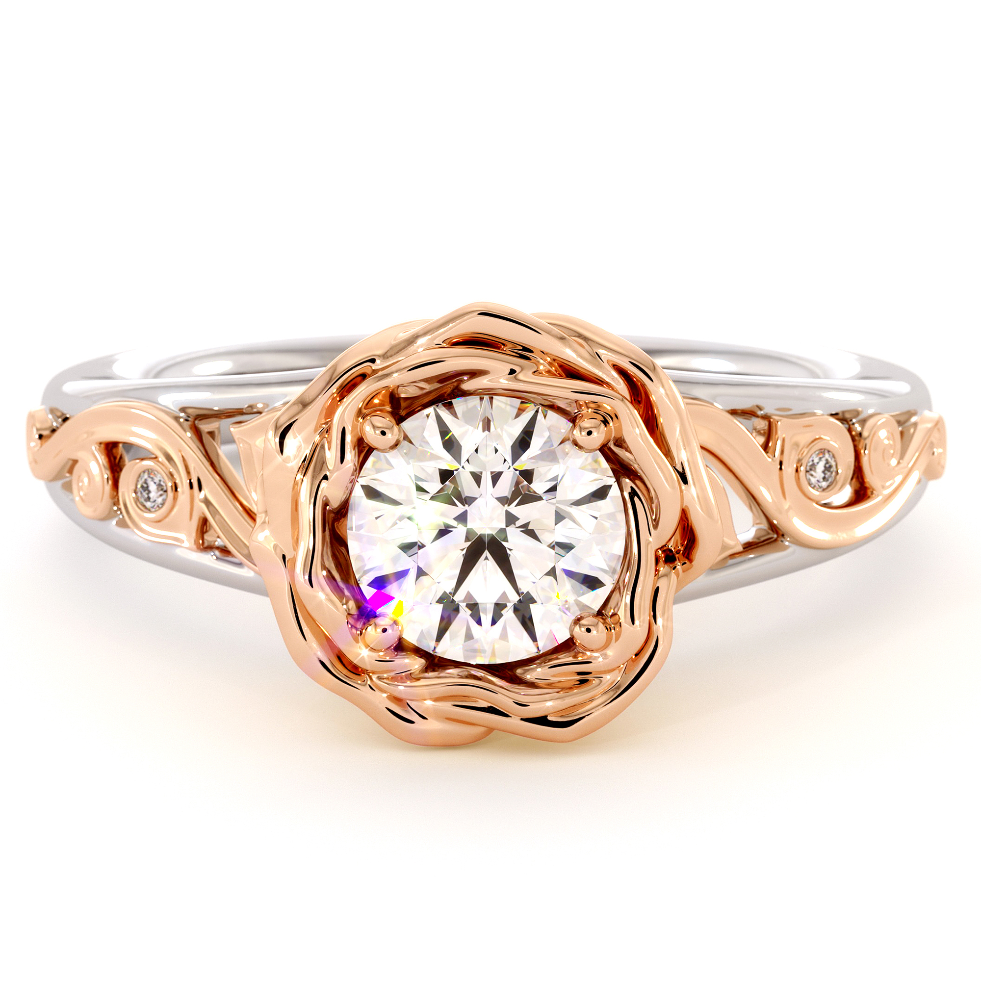 Flower Engagement Ring 2Tone Gold Ring Moissanite Ring Handmade Ring Alternative Engagement Ring