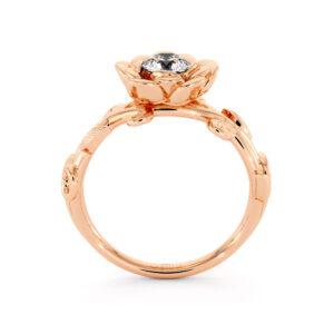 Floral Engagement Ring Handmade Lab Created Diamond Ring Rose Flower Wedding Ring 14K Rose Gold Ring