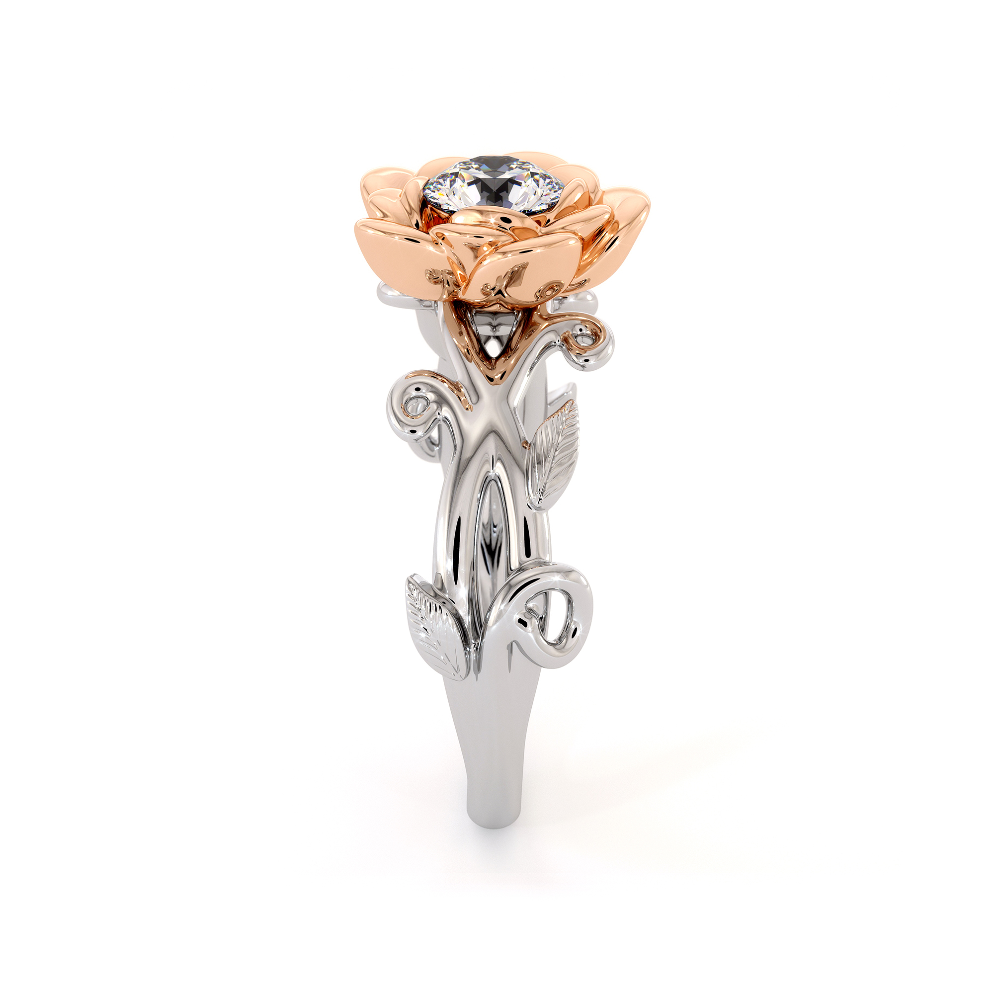 Floral Engagement Ring Handmade Lab Created Diamond Ring Rose Flower Ring White And Rose Gold Ring