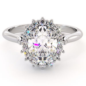 Diana Engagement Ring Diamond Alternative Princess Diana Ring Solid White Gold Fine Jewelry