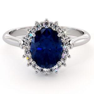 Diana Ring-14K White Gold Blue Sapphire Engagement Ring Blue Sapphire Ring Princess Diana Ring