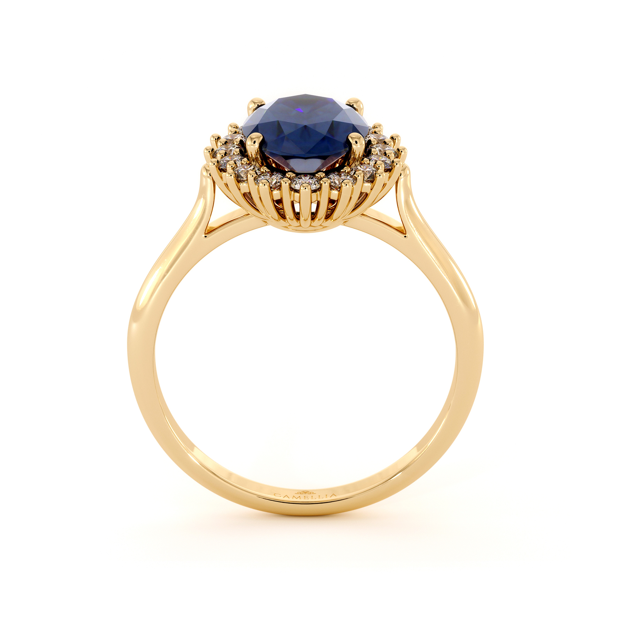 Diana Ring In 14K Yellow Gold Blue Sapphire Engagement Ring Vintage Inspired Princess Diana Gold Ring