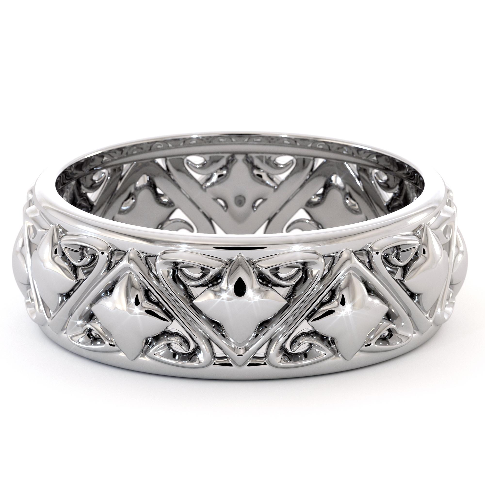 Unique Mens Wedding Band Triangle Filigree Mens Band Fine Jewelry