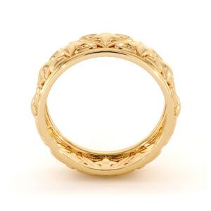 8mm Gold Men Band Handmade Custom Wedding Band 14K Rings For Him