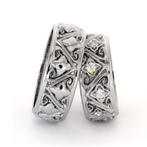 Couples Rings Set His and Hers Matching Bands Solid White Gold Filigree Wedding Bands