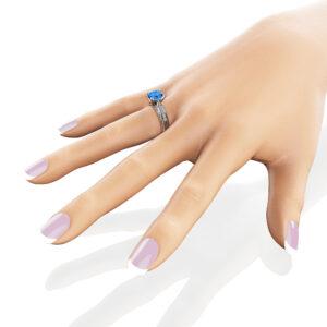 Victorian Topaz Engagement Ring 14K White Gold Engagement Ring Princess London Blue Topaz Ring