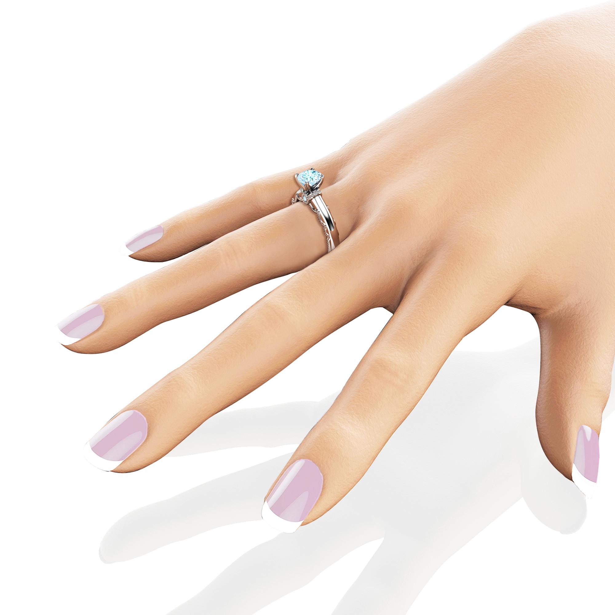 Aquamarine Classic Engagement Ring, March Birthstone Aquamarine Unique Gift, March Gemstone Birthstone Gold Ring