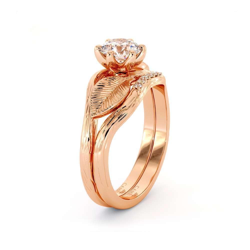 Leaf Engagement Ring Set 14K Rose Gold Ring Unique Moissanite Engagement Ring