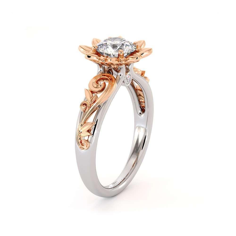 Moissanite Engagement Ring 14K White Gold Ring Unique Flower Leaf Engagement Ring