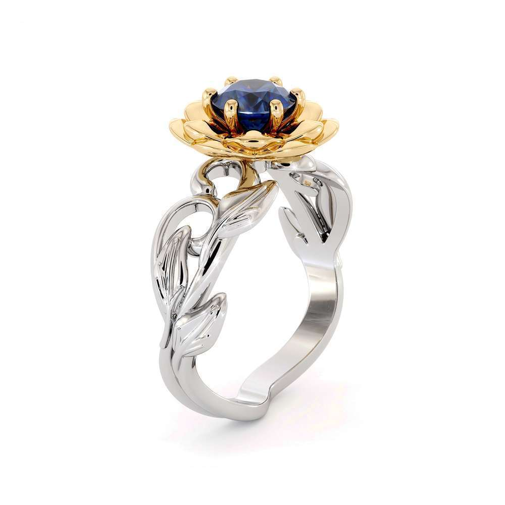 Lotus Flower Engagement RIng Sapphire Engagement Ring 14K White & Yellow Gold Nature Inspired Ring